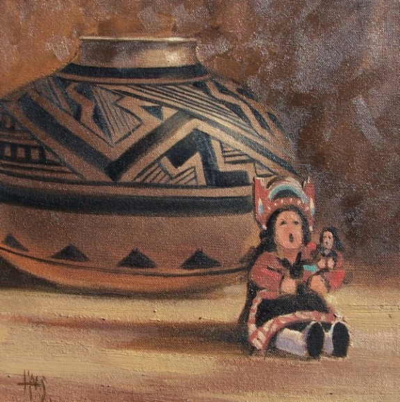 """Ancient Stories 12"""" x 12"""" oil painting by Tom Haas"""