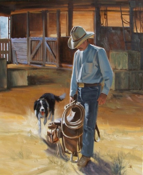 """Are You Coming? 36"""" x 30"""" oil painting by Tom Haas"""