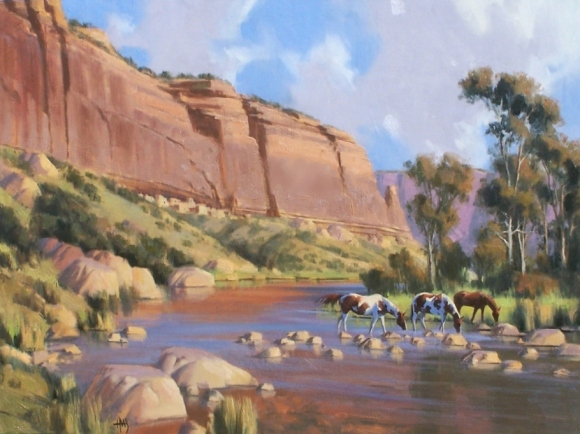 "Chama River Cliffs 30"" x 40"" oil painting by Tom Haas"