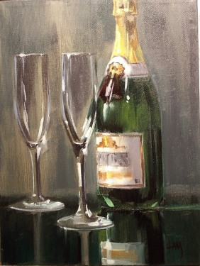 "Champagne 12"" x 9"" oil painting by Tom Haas"