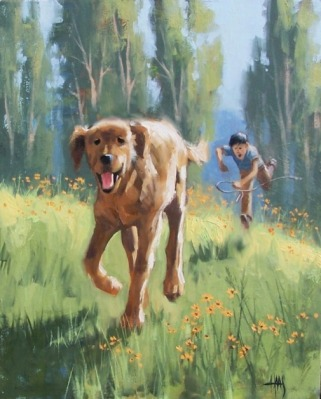 "Escape Artist 20"" x 16"" oil painting by Tom Haas"