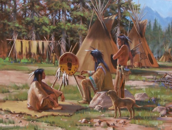 Native American Western oil paintings