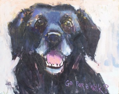 """Go For A Walk? 24"""" x 30"""" oil painting of Weasel Dog by Tom Haas"""
