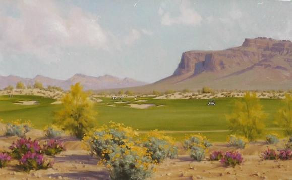 Golf and Superstition Mountain oil painting by Tom Haas