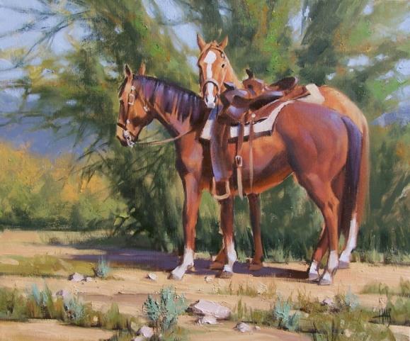 Horses Western oil paintings