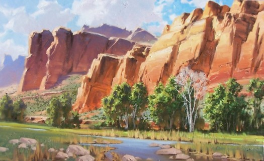 "Red Rock Canyon 30"" x 48"" oil painting by Tom Haas"