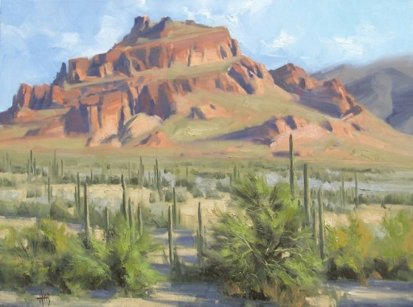 """Red Mountain 18"""" x 24"""" oil painting by Tom Haas"""