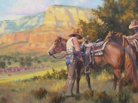 """Rim Country Wranglers 30"""" x 60"""" oil painting by Tom Haas"""