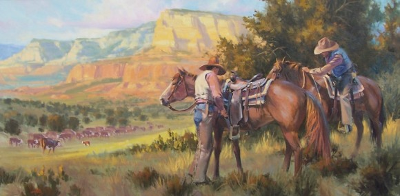 "Rim Country Wranglers 30"" x 60"" oil painting by Tom Haas"