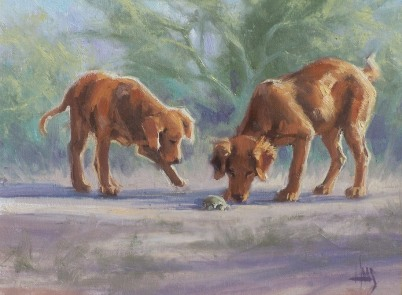"Sam as Twins 12"" x 16"" oil painting by Tom Haas"