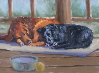 "Sam & Weasel Sleeping 18"" x 24"" oil painting by Tom Haas"