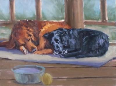 """Sam & Weasel Sleeping 18"""" x 24"""" oil painting by Tom Haas"""