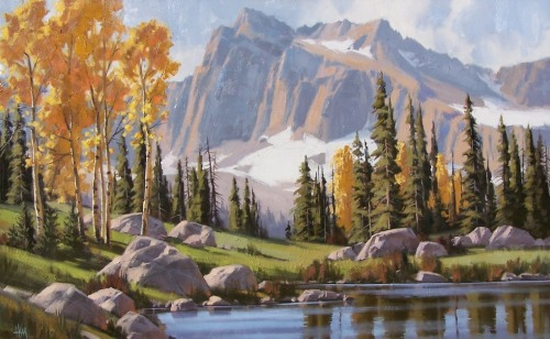 "Season of Gold 30"" x 48"" oil painting by Tom Haas"