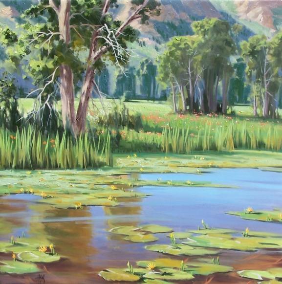 "Summer Pond 36"" x 36"" oil paintings by Tom Haas"
