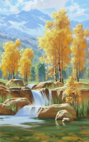 """Tapestry of Gold 48"""" x 30"""" oil painting by Tom Haas"""