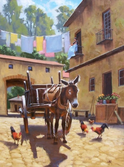 "Tuscan Courtyard 40"" x 30"" oil painting by Tom Haas"