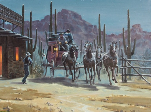 Stagecoach Western oil paintings