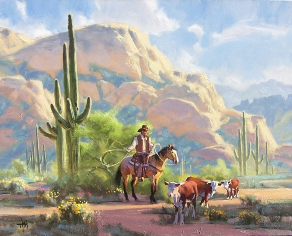 "Along Bulldog Canyon-Sonoran Desert 24"" x 30"" oil painting by Tom Haas"