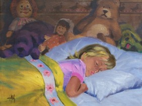 """Angel While Sleeping 16"""" x 20"""" oil painting by Tom Haas"""