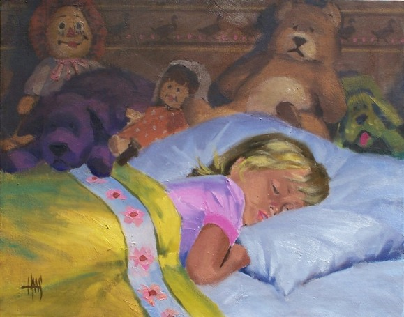 "Angel While Sleeping 16"" x 20"" oil painting by Tom Haas"