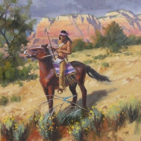 """Apache Tracker 48"""" x 48"""" oil painting by Tom Haas"""