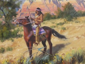 "Apache Tracker 48"" x 48"" oil painting by Tom Haas"