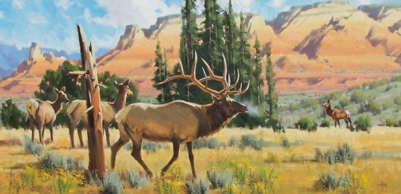"Autumn Gathering 24"" x 48"" oil painting by Tom Haas"