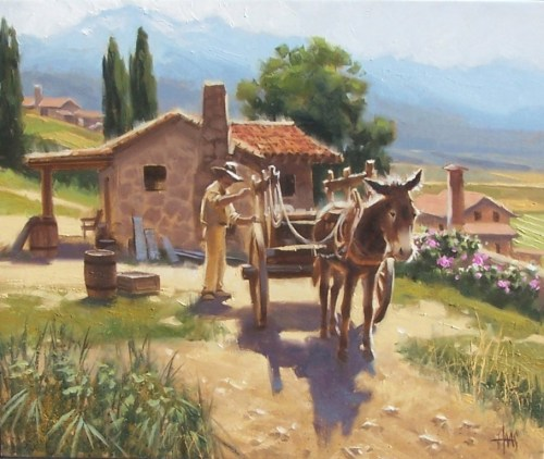 """Barrel Maker's Place 20"""" x 24"""" oil painting by Tom Haas"""