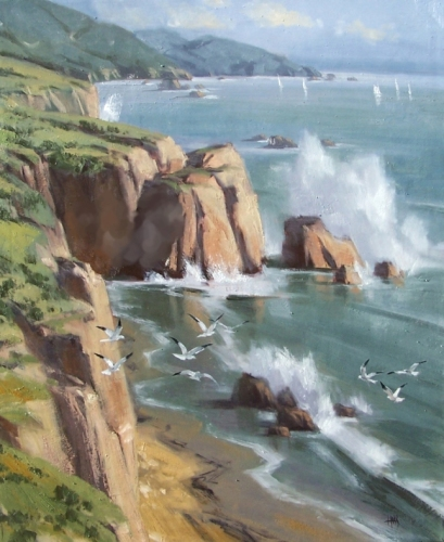 "Coastal Afternoon 36"" x 30"" oil painting by Tom Haas"