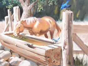 """Dainty 18"""" x 24"""" oil painting by Tom Haas"""