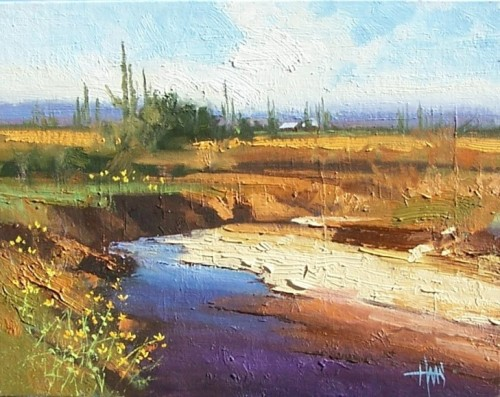 "Flowing Arroyo 11"" x 14"" oil painting by Tom Haas"