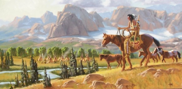 "Fresh Ponies - Wind River Range, Wyoming 24"" x 48"" oil painting by Tom Haas"