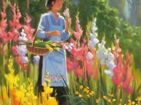 """Morning Bouquet 48"""" x 36"""" oil painting by Tom Haas"""