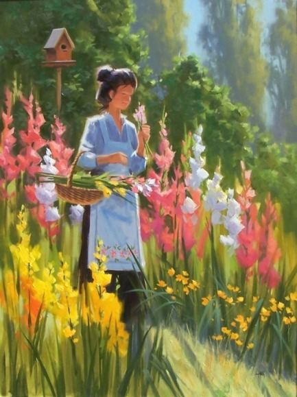 "Morning Bouquet 48"" x 36"" oil painting by Tom Haas"