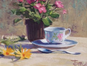 """Tea Time 11"""" x 14"""" oil painting by Tom Haas"""
