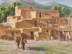 Pueblo Western oil paintings