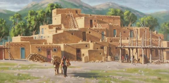 """Pueblo Wood Merchant 24"""" x 48"""" oil painting by Tom Haas"""