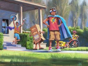 """Saving the Planet 16"""" x 20"""" oil painting by Tom Haas"""
