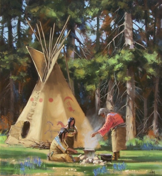 """Sharing Recipies 30"""" x 38"""" oil painting by Tom Haas"""