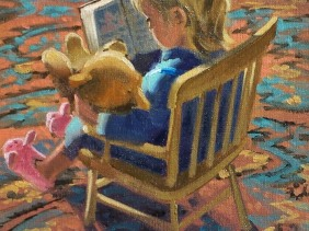 """Stories for Teddy 14"""" x 11"""" oil painting by Tom Haas"""