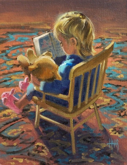 "Stories for Teddy 14"" x 11"" oil painting by Tom Haas"