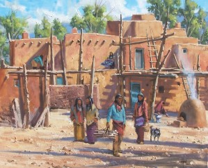 "Taos Pueblo 24"" x 30"" oil painting by Tom Haas"