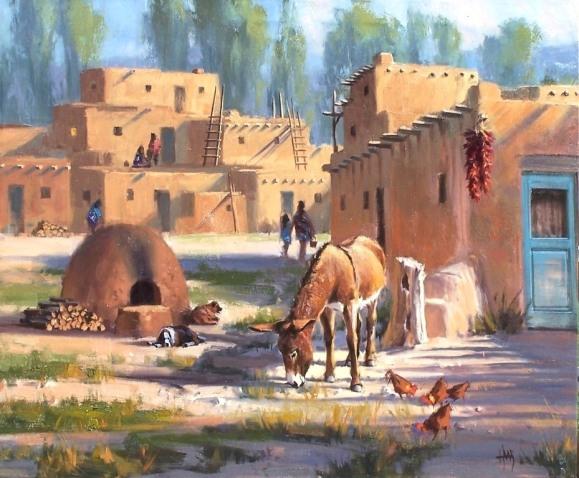 """Taos Breakfast Club 30"""" x 40' oil painting by Tom Haas"""