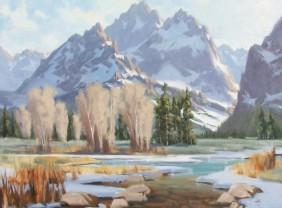 "Teton Winter 36"" x 48"" oil painting by Tom Haas"