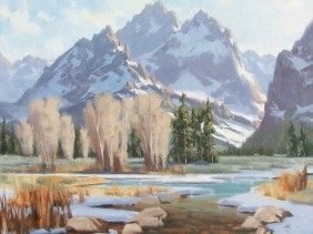 "Teton Winter 36"" x 48"" oil painting by Tom Haas"