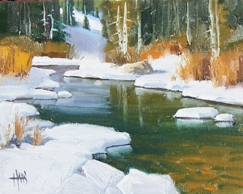 """Clear Creek - Vail Colorado 8"""" x 10"""" oil painting by Tom Haas"""