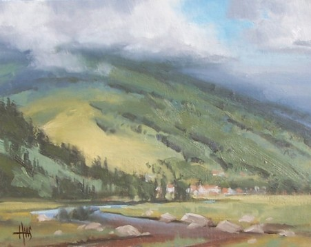 "Cloud Cover - Avon, Colorado 11"" x 14"" oil painting by Tom Haas"