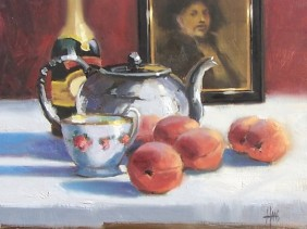 "Elegant Tea 11"" x 14"" oil painting by Tom Haas"
