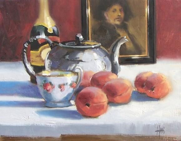 """Elegant Tea 11"""" x 14"""" oil painting by Tom Haas"""