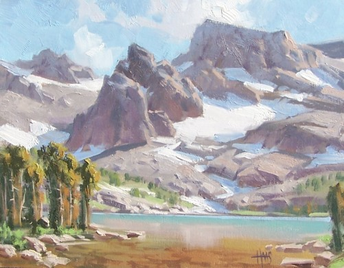 """Fremont Lake - Wind River Range, Wyoming 11"""" x 14"""" oil painting by Tom Haas"""